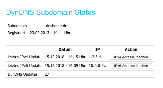 DynDNS Subdomain Status