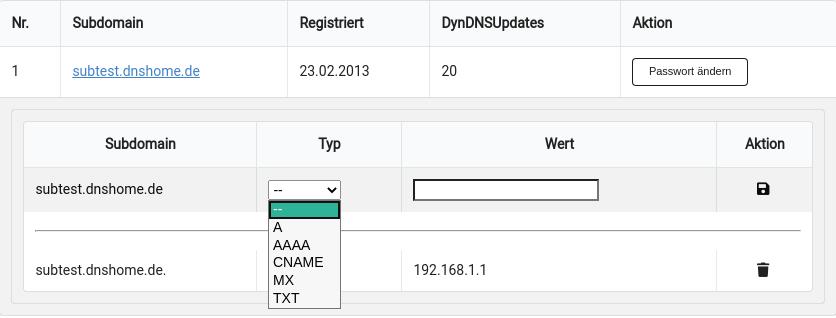 Screenshot zur Änderung der DNS Einstellungen der Subdomain.